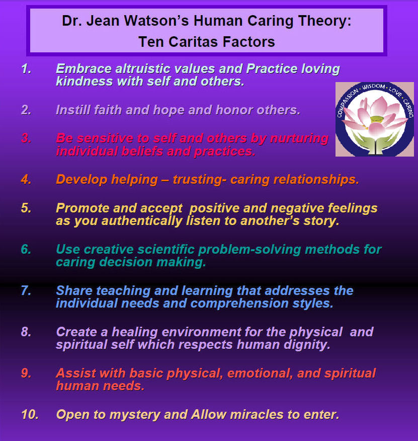 watson theory The test focuses specifically on jean watson's transpersonal caring science  theory the readings associated with this theory were included.